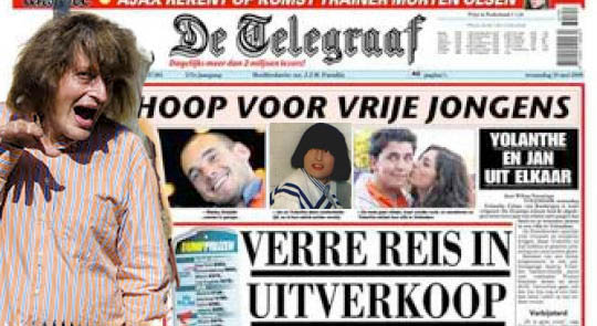 Harry Merry on the front page of a mayor Dutch 'news' paper