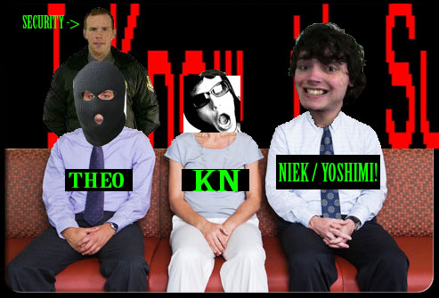 from right to left we have the guest Niek Hilkmann aka Yoshimi!, next to him sits your host KN, and on the left we have Theo the translator. Behind him is the security officer.