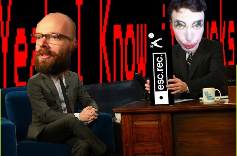 Harco Rutgers (on the left) makes himself comforatble in the Late Night studio setup, while your host KN holds up one of the subjects of tonight 'Esc.rec'