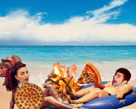 Yeah I Know It Sucks treats their guests well.. guest Bloom (on the left) and host  (on the right are enjoying pizza on the beach