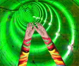 A snapshot through my visual receptors at the moment of flying through a bright colorfull lenghty tunnel like a superman..