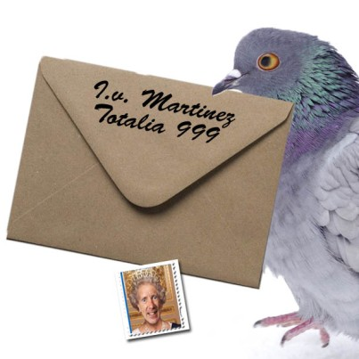 pictured above is my postal pigeon carrying the original envelop coming from the home of I.v. Martinez. It was empty minus a rather odd looking postal stamp..