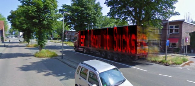 'Toot Toot' does the truck when it speeds off in a night that looks like proper day-light...