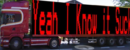 The Yeah I Know It Sucks truck up close driving around in Deventer