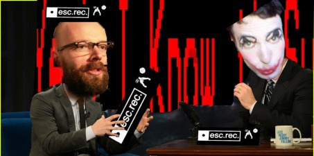 Harco Rutgers (on the left) answers the serious questions while juggling with cardboard printed Esc.rec logo's. Your host KN (on the right) thinks of more questions..