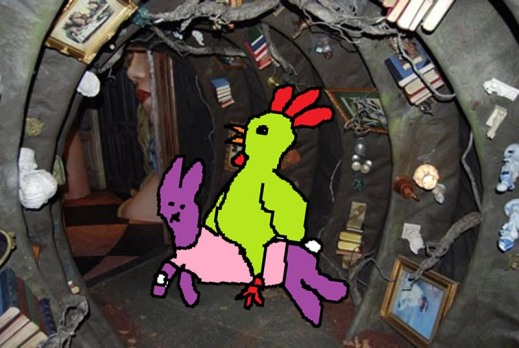 Me siting on top of the purple rabbit going through the underground