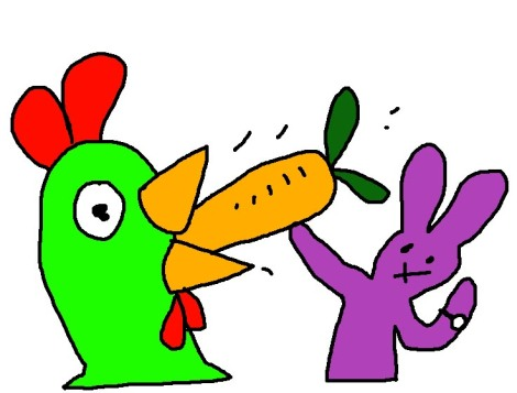 the purple rabbit shoved a carrot down my throat