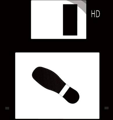 ^ The logo, mascotte and visual image of the floppy label named Floppy Kick