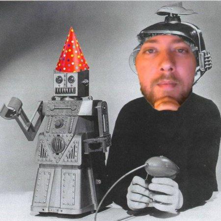^ Birthday boy Robotic Joe (right) and robot friend (left)