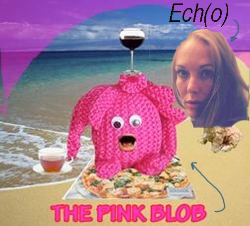^ the pink blob and now new best friend; Ech(o) on the beach