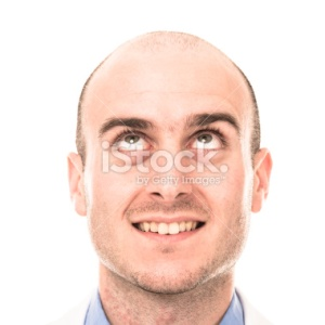 ^ You might wonder if this is the face of Lezet, but no, this is a Royalty Free Stock Photo of a Bald man Looking up.