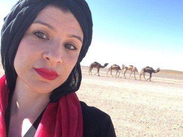 ^ Hanin Elias and new friends in the desert
