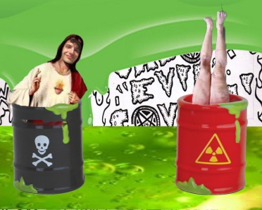 KN (on the left) talks to you, while Jason EVIL Covelli is checking out the bottom of the barrel of toxic waste