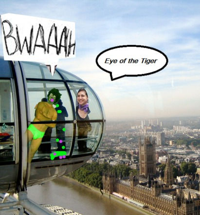KN pukes in the London Eye (on the left) while Djanan Turan tries to ignore and sings 'the eye of the tiger' and enjoys the view...