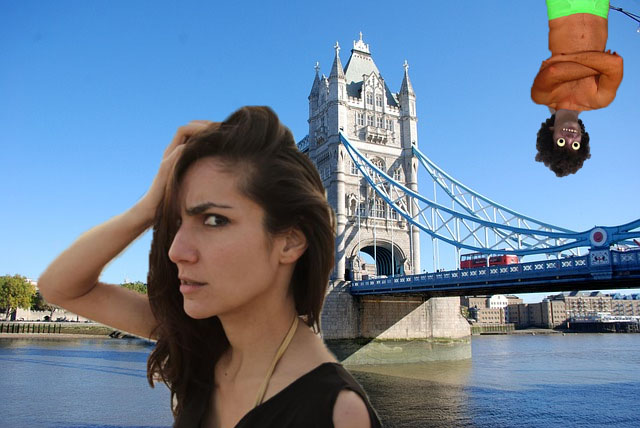 Djanan Turan (on the left) and KN (on the right) breaking their minds over the London Bridge