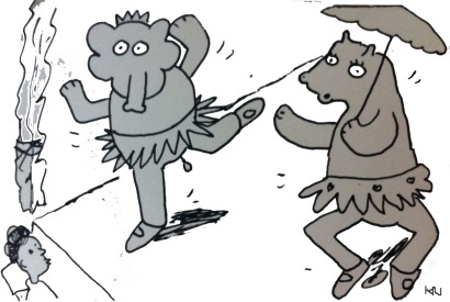 ^ a sketch out of my reviewers note book, capturing the scene of a dancing elephant and hippo in tutus on stage..