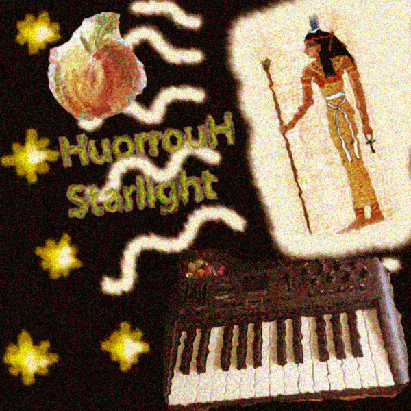 "In the album art for Starlight, by HuorrouH, which I choose to pronounce as ""hoo roo"", we see an onion, an Egyptian, and a synthesizer, floating in a field of shooting stars. It's a tough code to crack, but I've got an album art Rosetta Stone handy that I excavated from a crate of used books at a garage sale. This could help me translate what's really being said here, and I totally might even try that some time."